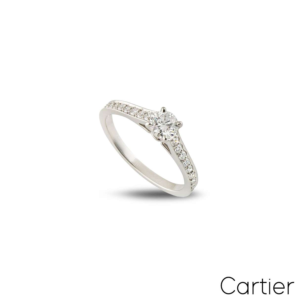 Cartier Platinum Diamond 1895 Solitaire Ring Size 47 N4164647